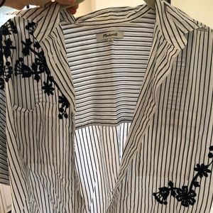 short sleeve embroidered striped button down